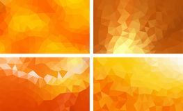 Vectorpak lage poly oranje kleur als achtergrond vector illustratie