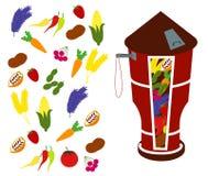 Vectorpakhuis van Fruit in Landbouwbedrijfillustratie Stock Afbeelding