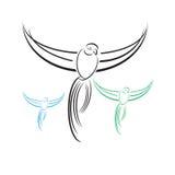 Vectorpapegaai Abstracte Vogel op witte achtergrond royalty-vrije illustratie