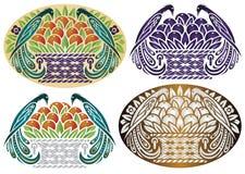 Vectorparadijsvogels op een mand fruit in verschillende stijlen Stock Foto's