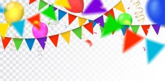 Vectorpartij, vierings of verjaardagsgrens met kleurrijk Ha vector illustratie