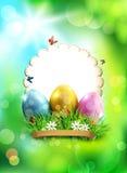 Vectorpasen-achtergrond, met eieren, gras en ronde kaart voor te Stock Afbeeldingen
