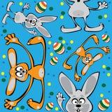 Vectorpasen-konijnen naadloos op blauw Stock Afbeelding