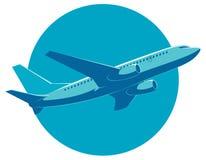 Vectorpassagiersvliegtuig tijdens de vlucht, bodemmening Stock Fotografie