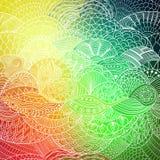 Vectorpatroon abstracte achtergrond met kleurrijk ornament De hand trekt illustratie, die boek kleuren zentangle Algenoverzees vector illustratie