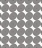 Vectorpatroon, die cirkels in golvende lijn, moderne modieuze zwart-wit herhalen Royalty-vrije Stock Afbeeldingen
