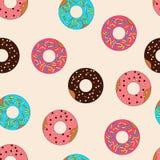 Vectorpatroon donuts met karamelbovenste laagje royalty-vrije illustratie