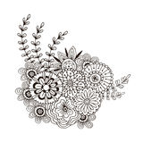 Vectorpatroon met abstract ornament van bloemen Volwassen kleurende boekpagina Zentanglekunst voor ontwerp Vector Illustratie