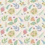 Vectorpatroon met de bloemen en de bladeren van de de lentekrabbel Stock Foto