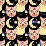 Vectorpatroon met een kat, maan, sterren Magisch en fee Geschikt voor prentbriefkaaren, druk, affiches, textiel stock illustratie