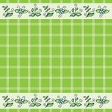 Vectorpatroon met gras en bloemen Stock Afbeelding