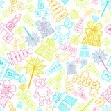 Vectorpatroon met kinderenspeelgoed Stock Afbeeldingen