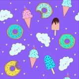 Vectorpatroon met leuk donuts en roomijs vector illustratie