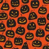 Vectorpatroon met pompoenen De vakantie van Halloween, naadloze achtergrond Stock Foto's