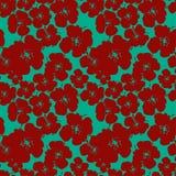 Vectorpatroon met rode bloemen Stock Illustratie