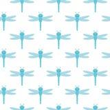 Vectorpatroon met vele lichtblauwe libellen op witte achtergrond stock illustratie