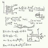 Vectorpatroon met wiskundige formules Stock Afbeeldingen