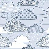 Vectorpatroon met wolken en regen Royalty-vrije Stock Afbeelding