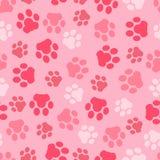 Vectorpatroon naadloos van achtergrond dierlijke roze voetafdrukken en poot Royalty-vrije Stock Fotografie