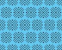Vectorpatroon van kruisen en vierkanten van zwarte kleur op een blauwe achtergrond stock illustratie