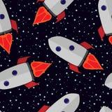 Vectorpatroon van raket in een kosmos Stock Foto