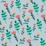 Vectorpatroon van waterverfbloemen en groene bladeren op lichtblauwe achtergrond stock illustratie