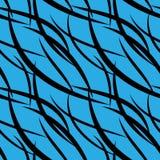 Vectorpatroon van zwarte snijdende vlotte zwarte lijnen op een blu vector illustratie