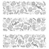 Vectorpatroon voor Paaseieren, bloemen, het patroon Kleurende pagina van konijntjes Gelukkige Pasen Stock Afbeelding