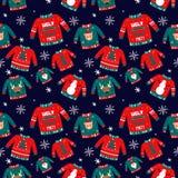 Vectorpatroon voor vakantiegebeurtenissen als Lelijke partij van de Kerstmissweater royalty-vrije illustratie
