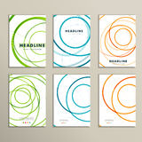 Vectorpatroon zes met abstracte cirkelbrochures stock illustratie
