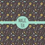 Vectorpatrooninzameling voor theepakket - witte, zwarte en groene thee Stock Foto
