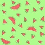 Vectorpatroonwatermeloenen op een groene achtergrond Stock Afbeelding