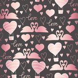 Vectorpatroonzwanen in liefde voor Valentijnskaartendag, huwelijk, romantische gebeurtenissen, en liefde vector illustratie