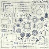 Vectorpen drawing floral rustic design-Elementen Stock Afbeeldingen