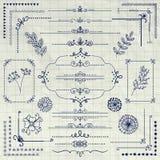Vectorpen drawing rustic design elements, Verdelers stock illustratie