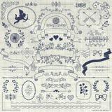 Vectorpen drawing rustic floral design-Elementen stock illustratie