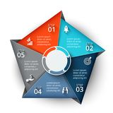 Vectorpentagoonelement voor infographic Stock Afbeeldingen