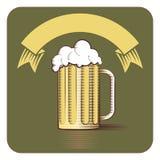 Vectorpictogram van biermok en lint met exemplaar-ruimte in gegraveerd s Stock Foto's