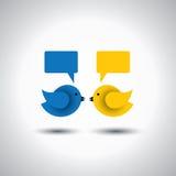 Vectorpictogram van twee kleine vogels die met elkaar communiceren Stock Fotografie