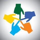 Vectorpictogram van vele handen wat betreft elkaar - concept eenheid Royalty-vrije Stock Afbeelding