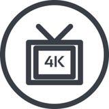 Vectorpictogram van volledige videoformate van HD 4k in de stijl van de lijnkunst Perfect pixel Royalty-vrije Stock Foto's