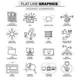 Vectorpictograminzameling van concept Internet-handel Stock Foto