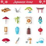 Vectorpictogrammen in de Japanse stijl Reeks Webelementen Stock Foto