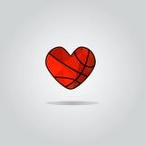 Vectorpictogrammen in de vorm van een hart voor basketbal Royalty-vrije Stock Afbeeldingen