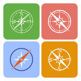 Vectorpictogrammen die vier verschillende kompassen afschilderen Stock Foto's