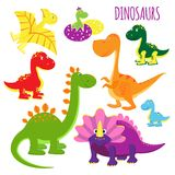 Vectorpictogrammen van babydinosaurussen Stock Foto
