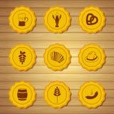Vectorpictogrammen van bierkappen Stock Afbeelding