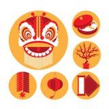 Vectorpictogrammen van Chinese Nieuwjarenelementen Royalty-vrije Stock Afbeeldingen
