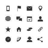 Vectorpictogrammen van contact en de communicatie Internet Huis, telefoon en e-mailwebsymbolen royalty-vrije illustratie