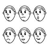 Vectorpictogrammen van de gezichten van beeldverhaalsmiley Stock Foto